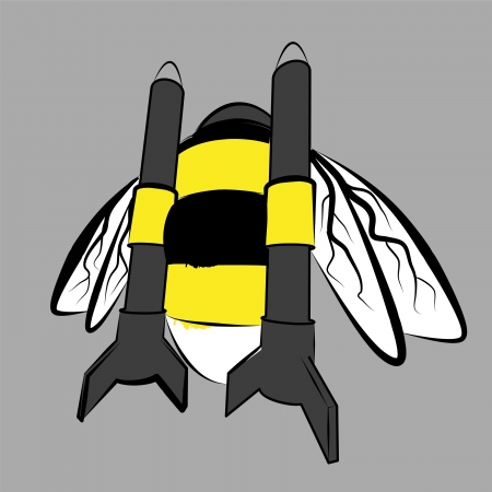 humble-bee powered by pair of rockets Vector
