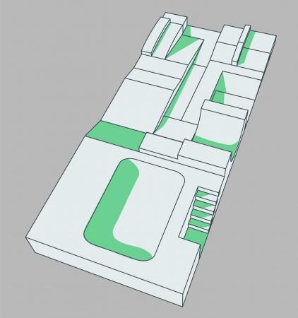 modern designed skatepark not only for scaters Vector