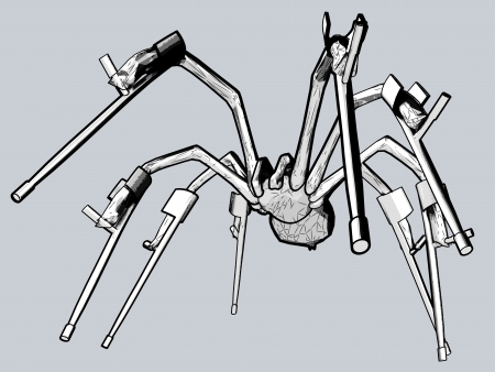 handicaped spider with crutches Vector