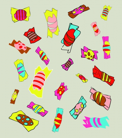 licorice sticks: lot of colorful candy bonbons Illustration