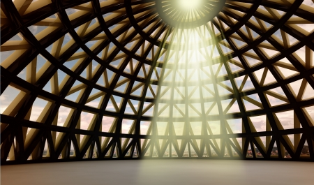 straight beam of gods holy yellow lighting in abstract architectural moder dome made from metalic brown and golden joists photo