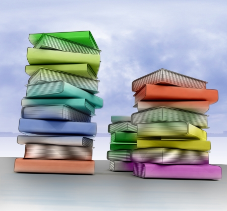 three isolated colorful columns of education books in conceptual composition Stock Photo - 14659368
