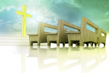 holy heavens church space with golden cross and wooden bench on blue sky background with divine glow photo