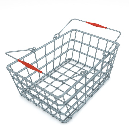 isolated light grey metal chome modern designed shoping basket rendering photo