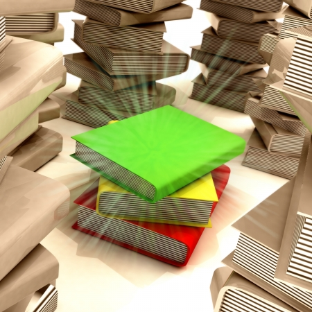 importance: red yellow green books between several columns of another books colored in sepia filter in library with center flare