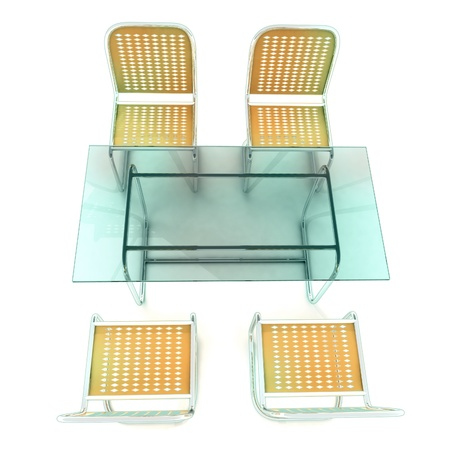 ideal transparent glass table with four steel tube chairs for bussiness meetings  photo