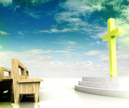 holy heaven s church space with golden cross and wooden bench on blue sky background photo