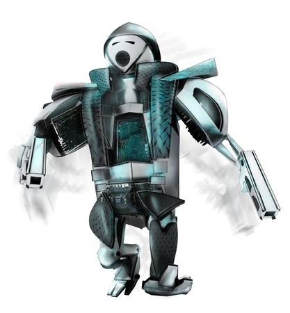 This robot is protector of justice, he take care about law Stock Photo - 14659386