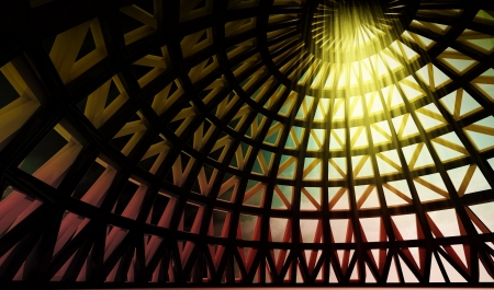 spreading of of gods holy yellow lighting in abstract architectural modern dome made from metalic brown and golden joists photo
