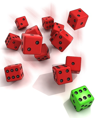 freefall: several plastic dices rolling with one green winning in motion blur