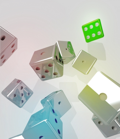 several metallic dices rolling with one winning green one conceptual illustration illustration