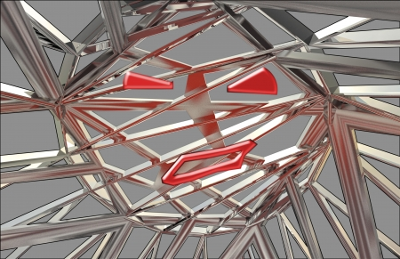 steelwork: red face as soul trapped in metallic magic steel construction background illustration
