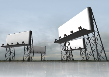 several empty billboards construction with reflectors situated in abstract field with reflections in floor and blue grey sky render illustration as a memento of our age illustration