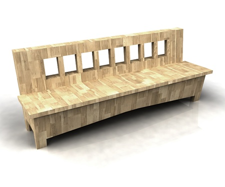 timber bench seat: isolated modern designed wooden bench on white background