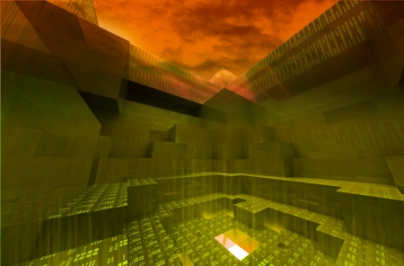 nether: abstract gateway to underworld with orange dark sky and center flare wallpaper Stock Photo