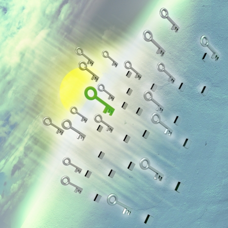 flying metallic keys and green correct one opening mystery of our planet conceptual illustration Stock Illustration - 14788386