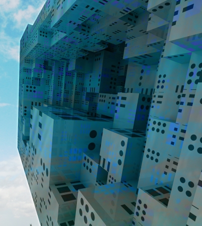 flying modern city observation spaceship colored in grey blue conceptual background illustration illustration