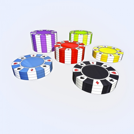 closeup focused on black, yellow, green, violet, blue and red poker chips in separate columns conceptual casino game illustration illustration