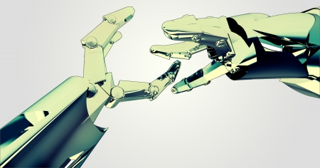 concept of two shaking robotic metallic hands having succes about new future technological progress conceptual computer drawing background photo