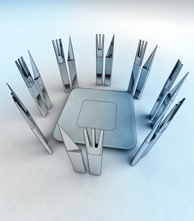 amazing metall steel starving well designed cutlery around center plate conceptual render photo
