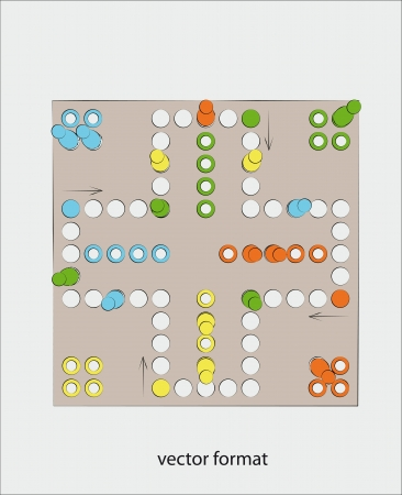 ludo vector illustration from top view on gametable conceptual  illustration Vector