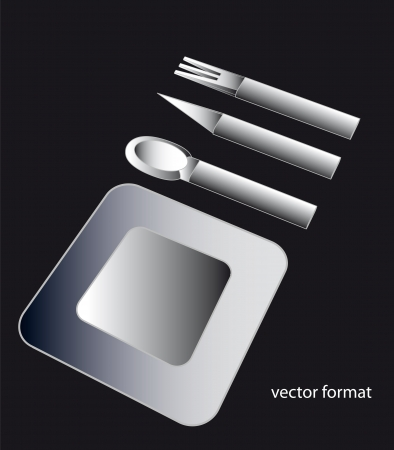 black and white conceptual shaded illustration of modern designed steel metallic plate and cutlery isolated on black background Vector