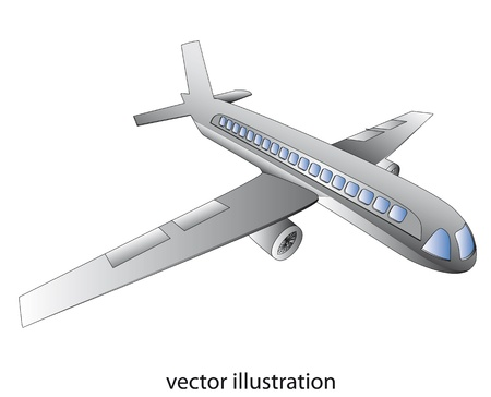 realistic black and white shaded airplane flight concept with blue windows vector clip art Vector