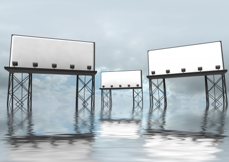 three clear and empty billboards construction with reflectors situated in abstract field with reflections in water and blue grey sky render illustration as advertisement everywhere illustration