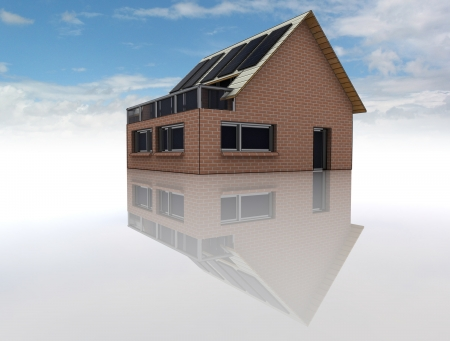 pannel: conceptual rendering of new sustainable brick house with solar pannels on the roof with floor reflections on the ground and blue cloudy sky