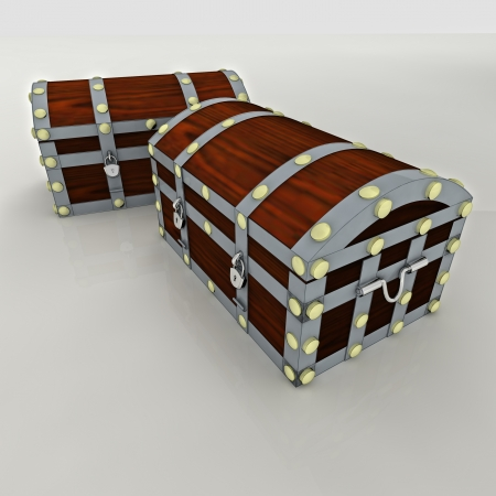 water chestnut: wooden metal security concept chest with gold and money treasure heritage isolated render illustration