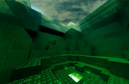 nether: green abstract architectural gateway to underworld with blue dark sky wallpaper