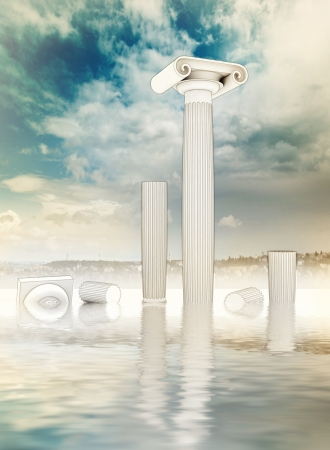 water reflection: four destroyed or ruined columns in the ancient Greek Ionian style with water reflection with blue cloudy sky