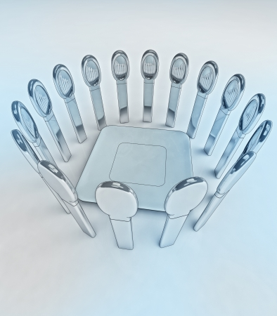 starving: amazing metall steel starving well designed spoons around center plate conceptual render as illustration of modern ways how to hold diet Stock Photo