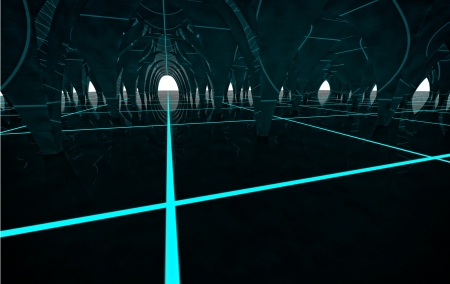 tron: abstract future modern column hall with lighting stripes and reflections on the floor architecture rendering Stock Photo