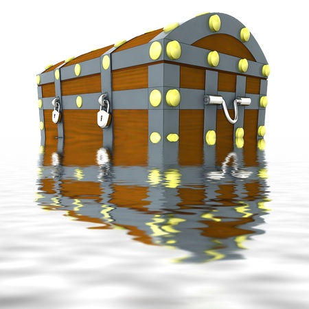 water chestnut: sunk wooden metal handmade pirate chest with gold treasure heritage situated half in water render illustration