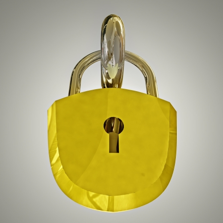 close up on detailed gold metallic locker to illustrate safety Stock Photo - 15218907