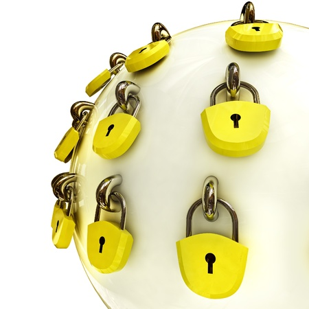 detail security concept diagram as safety sphere locked with lockers illustration Stock Photo