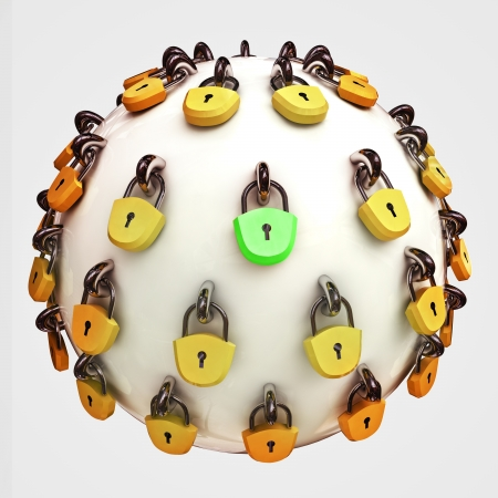 security concept diagram as safety sphere locked with lockers and one correct green illustration Stock Illustration - 15219394