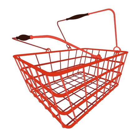 simply red shopping hand basket in vector illustration in perspective view Vector