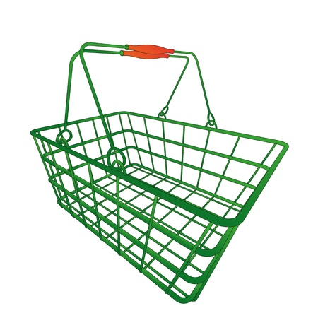 normal green shopping hand basket in vector illustration in perspective view Vector