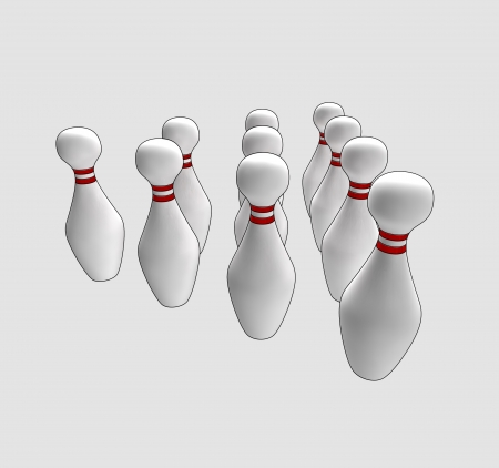 bowl game: isolated ten skittles ready to play a bowl game in perspective semi top view clip art illustration