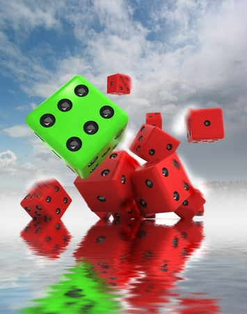 several plastic dices rolling with one green winning in motion blur on water level as lucky illustration illustration