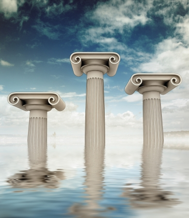 roman column: three detailed columns in the ancient Greek Ionian style as podium sunken in water on blue cloudy sky backgroung