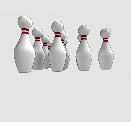 bowl game: isolated ten skittles ready to play a bowl game in perspective down view clip art vector illustration Stock Photo