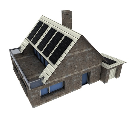 isolated new sustainable stone house with solar pannels on the roof and big garage conceptual perspective render photo