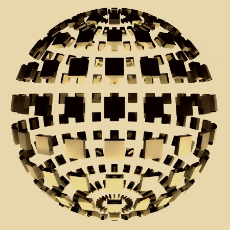 brown shaded magic disco sphere with close button wallpaper rendering Stock Photo - 15503279
