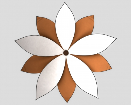 symetric: symetric radial white orange lotus blossom with petals from centered top view lineart illustration