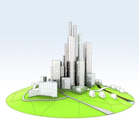 beautiful super modern sustainable city view development unit cityscape hand drawn illustration Stock Illustration - 15503278