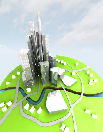 beautiful super modern sustainable city view on development unit cityscape with sky illustration  illustration