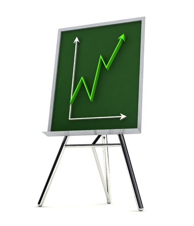 isolated tripod blackboard with green financial graph increasing up in green color render illustration illustration